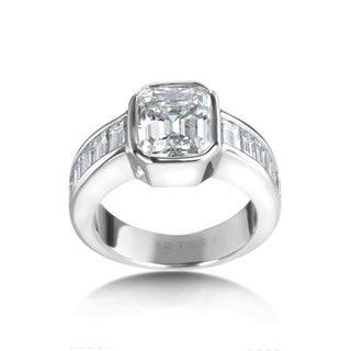 SummerRose Diamond Bezel and Channel Set Emerald Certified Diamond SummerRose 18kt White Gold Ring