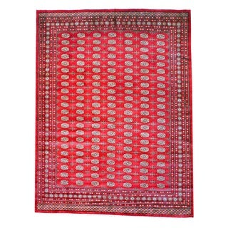 Herat Oriental Pakistan Hand-knotted Tribal Bokhara Red/ Ivory Wool Rug (10' x 14')