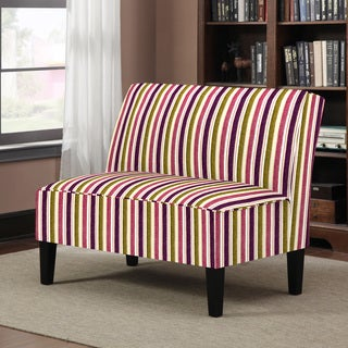 Better Living Wylie Purple and Green Striped Armless Settee