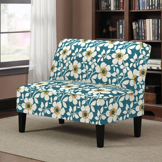 Better Living Wylie Blue Floral Pattern Armless Settee