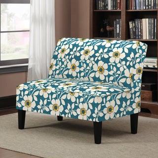 Portfolio Wylie Blue Floral Pattern Armless Settee