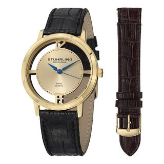 Stuhrling Original Men's Swiss Quartz Cathedral Leather Strap Watch Set