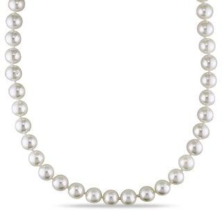 Miadora 14k Yellow Gold Akoya White Pearl Strand Necklace (7-7.5 mm)