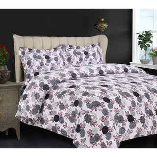 Dahlia Printed Flannel 3-piece Duvet Cover Set