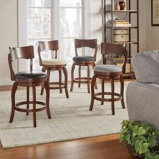 Napoleon Swivel 24-inch Brown Oak Counter Height Linen Barstool