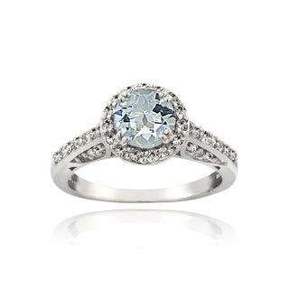 Glitzy Rocks Sterling Silver Aquamarine White Topaz Halo Ring