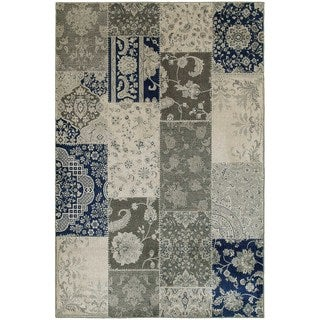 Persian Ivory/ Grey Patchwork Area Rug (5'3 x 7'6)