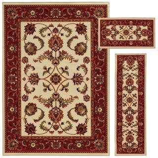 Oriental Floral Beige/ Red 3-piece Set