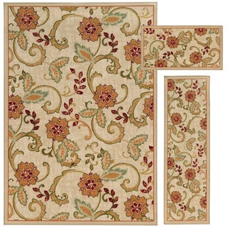 Floral and Vine Beige/ Rust 3-piece Set
