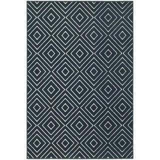 Geometric Diamond Navy/ Ivory Rug (5'3 x 7'6)