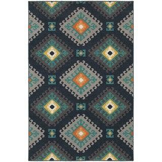 Geometric Tribal Navy/ Grey Rug (6'7 x 9'6)