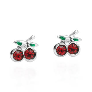 Charming Cubic Zirconia Cherry .925 Silver Stud Earrings (Thailand)