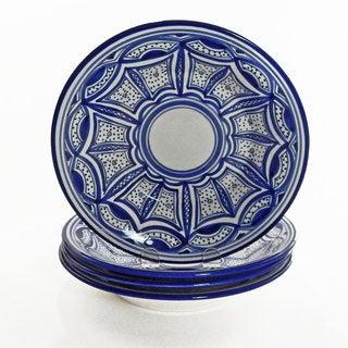 Le Souk Ceramique Set of 4 Qamara Design Pasta/ Salad Bowls (Tunisia)