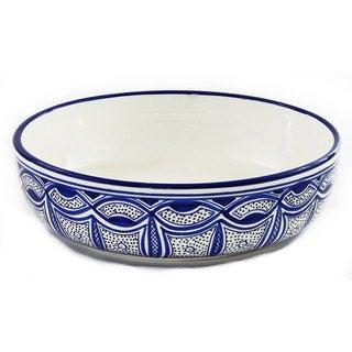 Le Souk Ceramique Qamara Design Wide Salad/ Pasta Bowl (Tunisia)