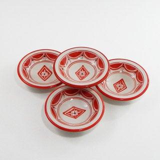 Le Souk Ceramique Set of 4 Nejma Design Round Sauce Dishes (Tunisia)