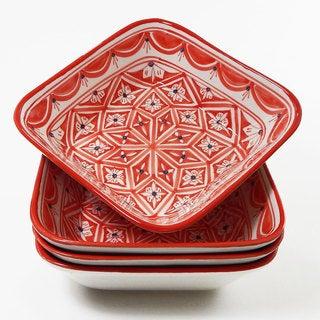 Le Souk Ceramique Set of 4 Nejma Design Square Pasta/ Salad Bowls (Tunisia)
