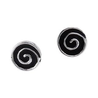 Hypnotic Swirls Enamel Swirl .925 Silver Stud Earrings (Thailand)