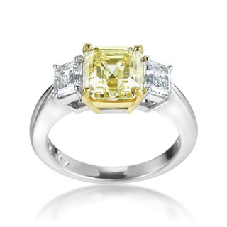 SummerRose 18k White Gold and Platinum Yellow and White Diamond 3.55ct TDW Ring (Yellow, VS1-VS2) (G-H, SI1-SI2