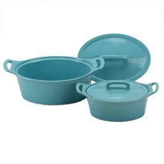 OmniWare Blue Oval Casserole Dish with Lid (Set of 2)