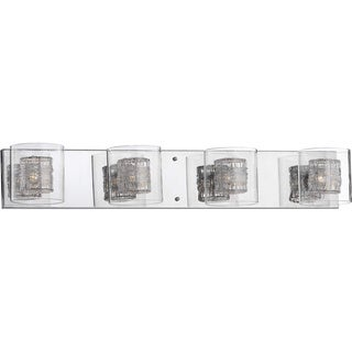 Leticia 4-light Chrome Wall Sconce with Aluminum and Clear Glass Shades