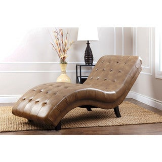 Abbyson living soho brown leather chaise for Abbyson living soho cream fabric chaise