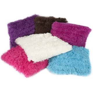 Soft and Comfy Plush Long Banded Faux Fur 18-inch Throw Pillows (set of 2)