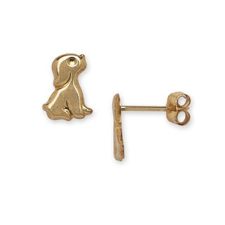 14k Yellow Gold Children's Puppy Dog Earrings