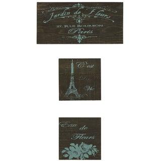 'Jardin De Fleurs' Reclaimed Wood 3-piece Wall Art