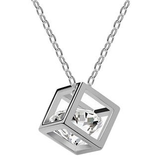 Princess Ice Platinum-plated Cubic Zirconia in a Hollow Box Pendant