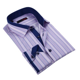 Ungaro Men's Purple and Blue Cotton Dress Shirt