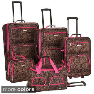 Rockland Leopard 5-piece Expandable Rolling Upright Luggage Set