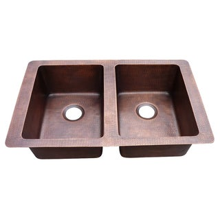 Farmhouse Hammered Copper Double Bowl Sink