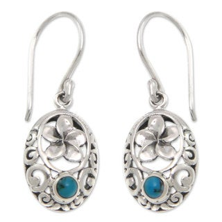 Sterling Silver 'Bali Bouquet' Turquoise Earrings (Indonesia)