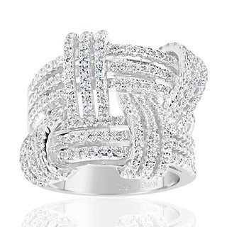 Suzy Levian Sterling Silver Cubic Zirconia Weaving Wide Band Ring