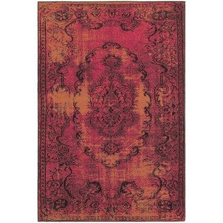Traditional Distressed Overdyed Oriental Pink/ Yellow Rug (5'3 x 7'6)