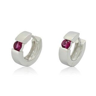 Gioelli Sterling Silver 4mm Round-cut Pink Tourmaline Hoop Earrings