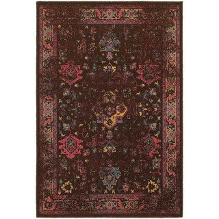 Traditional Distressed Overdyed Persian Brown/ Multi Rug (6'7 x 9'6)