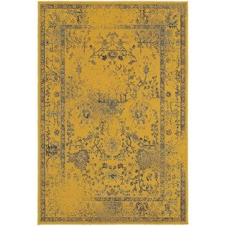 Traditional Distressed Overdyed Persian Gold/ Grey Rug (5'3 x 7'6)