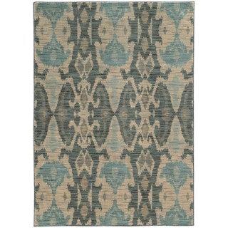 Nomadic Ikat Ivory/ Grey Rug (6'7 x 9'6)
