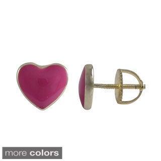 Gold Finish Sterling Silver Enamel Heart Stud Screw-back Earrings