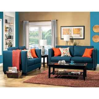 Furniture of America Jaymie 2-Piece Tuxedo Style Dark Turquoise Sofa Set