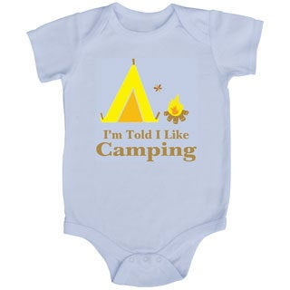 Rocket Bug 'I'm Told I Like Camping' White Baby Bodysuit