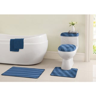 Addie 6-piece Bath Mats and Toliet Cover Set with Bonus Bathtub Appliques
