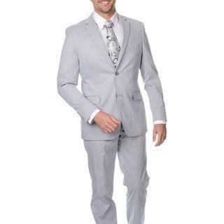 Reflections Men's Slim Fit Blue Cotton Blend Pincord Suit