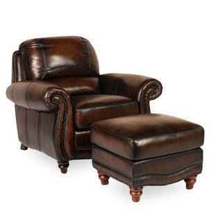 Masa Brown Leather Cowhide Ottoman