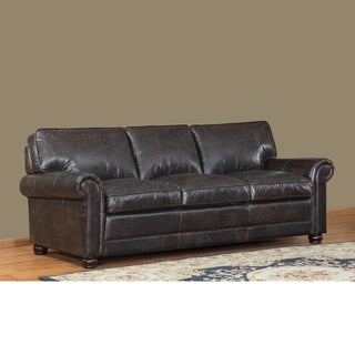 Genesis Brown Leather Cowhide Sofa