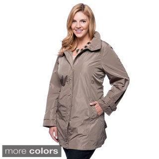 Ellen Tracy Plus Size Water Repellant Hidden Hood Packable Trench Coat