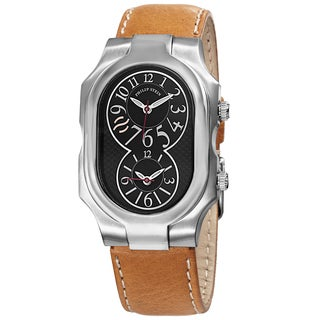 Philip Stein Women's 2-BK-CSTC 'Signature' Black Dial Tan Leather Strap Watch