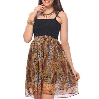 La Leela Women's Chiffon All-over Leaf Printed Smocked Short Tube Dress