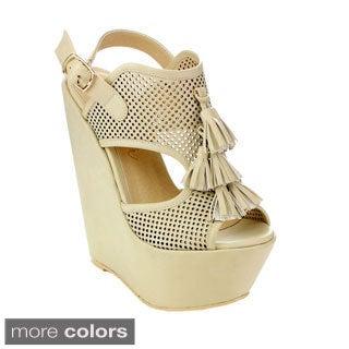 Machi Women's CL-Zaipho-1 Tassel Peep-toe Wedges